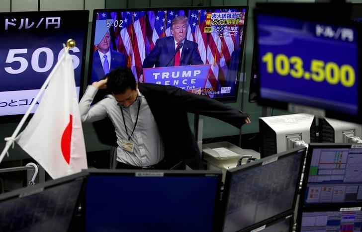 FILE PHOTO-An employee of a foreign exchange trading company wears a jacket near monitors showing U.S. President-elect Donald Trump speaking on TV news, and the Japanese yen's exchange rate against the U.S. dollar (top R) in Tokyo, Japan, November 9, 2016.   REUTERS/Toru HanaI/File Photo