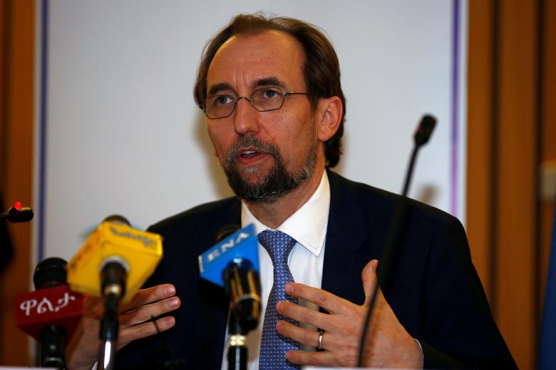 United Nations High Commissioner for Human Rights Zeid Ra'ad al-Hussein of Jordan address a news conference during his visit in Ethiopia's capital Addis Ababa, May 4, 2017. REUTERS/Tiksa Negeri