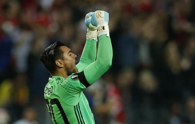 Football Soccer - Ajax Amsterdam v Manchester United - UEFA Europa League Final - Friends Arena, Solna, Stockholm, Sweden - 24/5/17 Manchester United's Sergio Romero celebrates their second goal Reuters / Andrew Couldridge Livepic