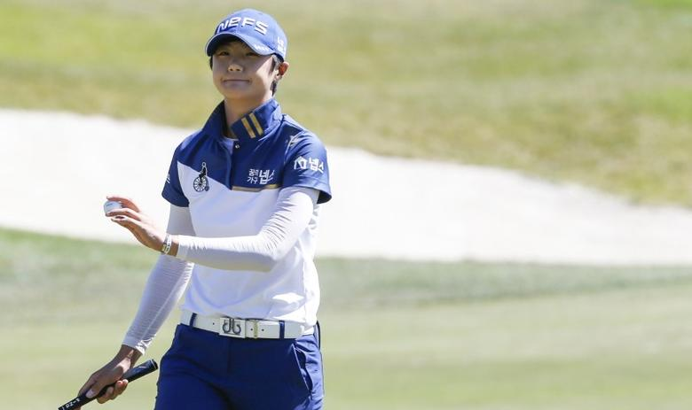 Jul 9, 2016; San Martin, CA, USA; Sung Hyun Park reacts after playing the eighteenth hole during the third round of the women's 2016 U.S. Open golf tournament at CordeValle Golf Club. Mandatory Credit: Brian Spurlock-USA TODAY Sports  / Reuters