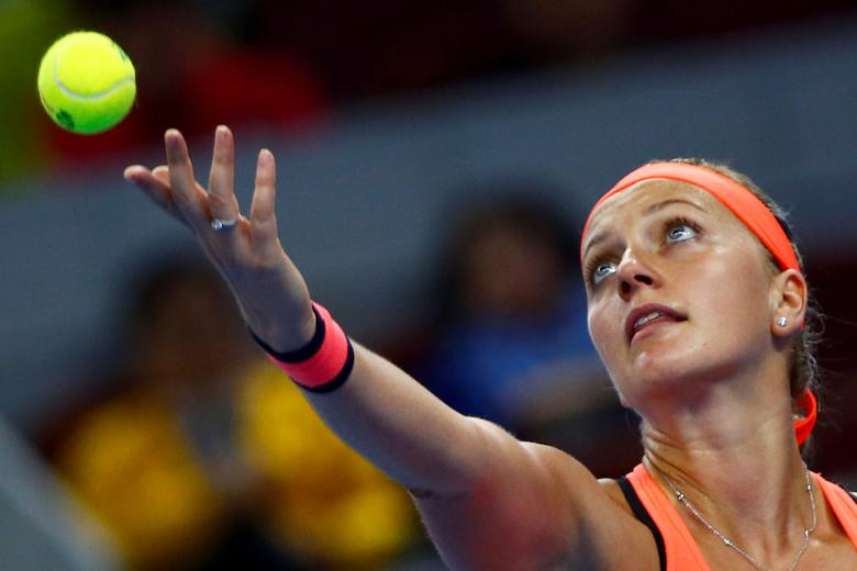FILE PHOTO: Tennis - China Open Women's Singles Second Round - Beijing, China - 04/10/16. Czech Republic's Petra Kvitova plays against China's Wang Yafan. REUTERS/Thomas Peter/File Photo