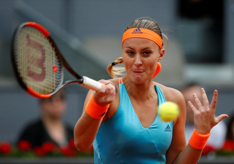 Tennis - WTA - Madrid Open - Women's Singles Final - Kristina Mladenovic of France v Simona Halep of Romania- Madrid, Spain - 13/5/17 - Mladenovic returns the ball. REUTERS/Susana Vera