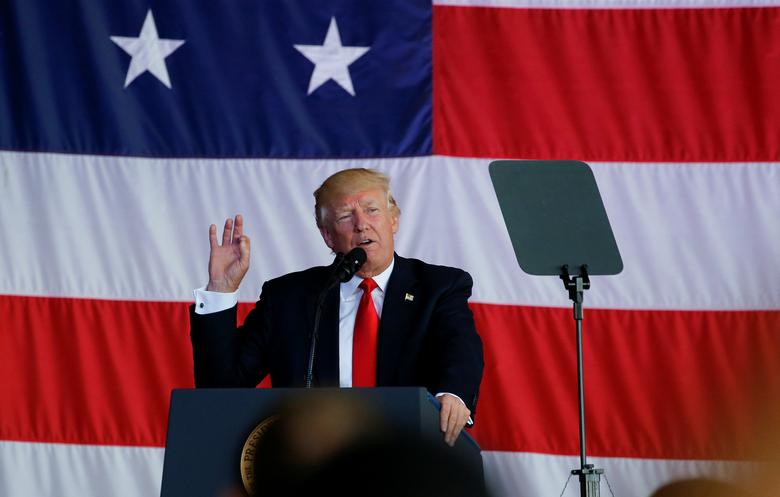 U.S. President Donald Trump delivers remarks to U.S. troops at the Naval Air Station Sigonella before returning to Washington D.C. at Sigonella Air Force Base in Sigonella, Sicily, Italy, May 27, 2017. REUTERS/Jonathan Ernst