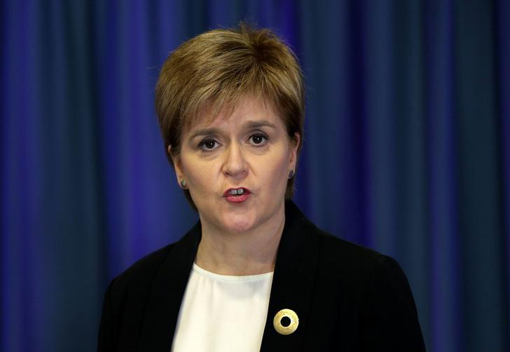 Scotland's First Minister Nicola Sturgeon reacts to the attack in Manchester as she speaks to journalists in Edinburgh, Britain May 23, 2017. REUTERS/David Cheskin/Pool
