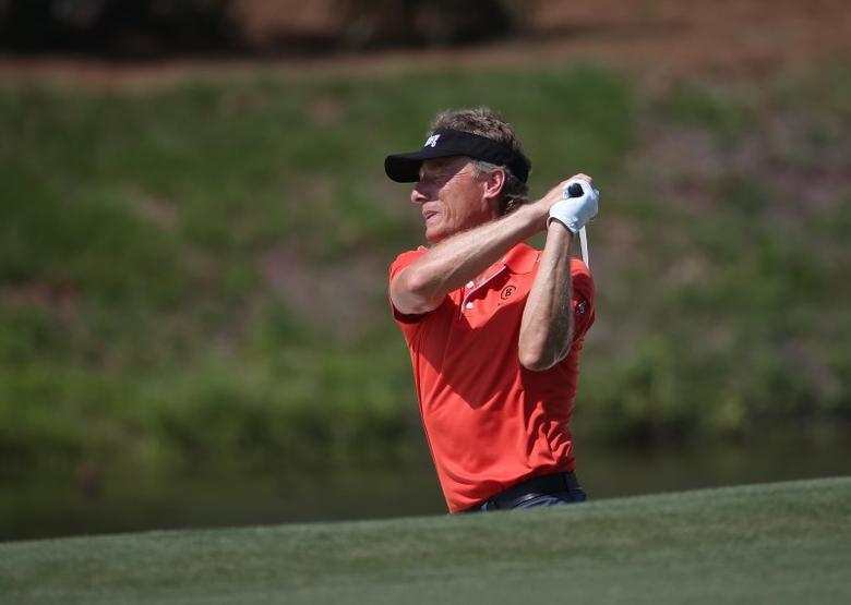 May 11, 2017; Ponte Vedra Beach, FL, USA;  Bernhard Langer plays from a fairway bunker on the 5th hole during the first round of The Players Championship golf tournament at TPC Sawgrass - Stadium Course. Mandatory Credit: Peter Casey-USA TODAY Sports