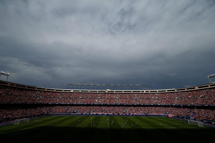 Atletico Madrid fans are seated before the last match at Vicente Calderon as Atletico Madrid bids farewell to its home of 51 years before moving to the newly-built Wanda Metropolitano, in Madrid, Spain May 28, 2017. REUTERS/Javier Barbancho
