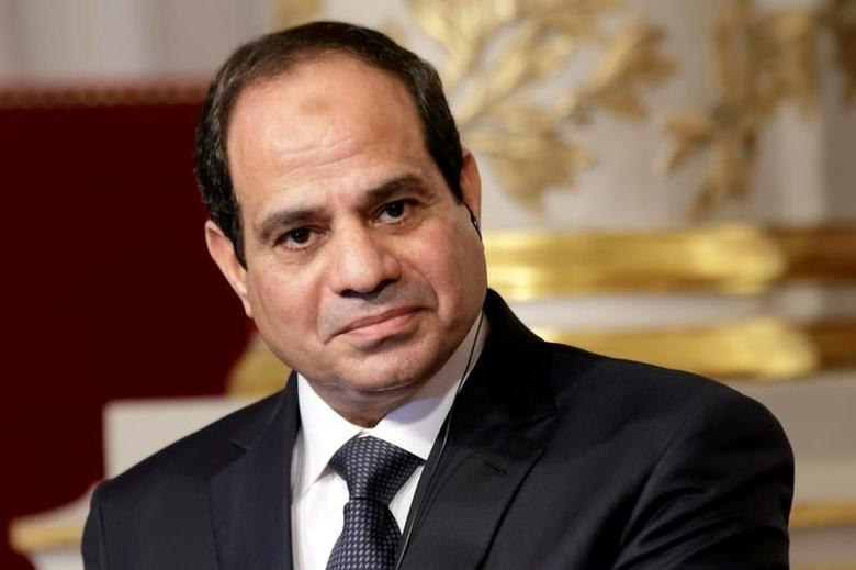Egyptian President Abdel Fattah al-Sisi delivers a statement following a meeting with French President Francois Hollande at the Elysee Palace in Paris, France November 26, 2014. REUTERS/Philippe Wojazer/Files