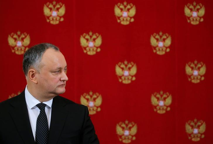Moldovan President Igor Dodon attends a news conference after a meeting with his Russian counterpart Vladimir Putin at the Kremlin in Moscow, Russia, January 17, 2017. REUTERS/Sergei Ilnitsky/Pool/Files