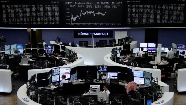 Traders work in front of the German share price index, DAX board, at the stock exchange in Frankfurt, Germany, May 29, 2017. REUTERS/Staff/Remote