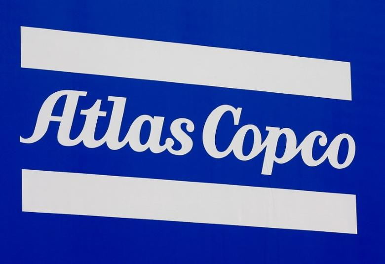 FILE PHOTO: A Atlas Copco company logo is pictured at the ''Bauma'' Trade Fair for Construction, Building Material and Mining Machines and Construction Vehicles and Equipment in Munich, southern Germany, April 11, 2016. REUTERS/Michael Dalder/File Photo