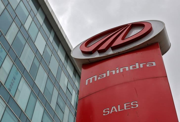 The logo of Mahindra and Mahindra is seen at a showroom in Mumbai, India, August 30, 2016. Picture taken August 30, 2016. REUTERS/Danish Siddiqui/File Photo