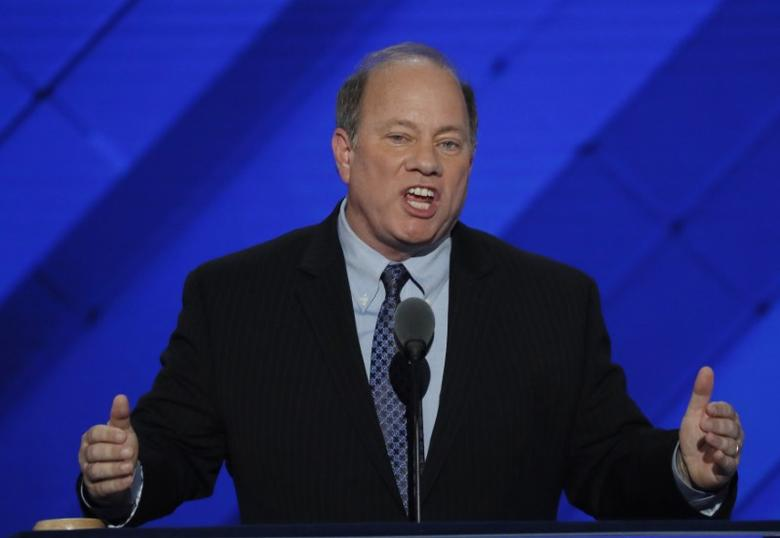 Detroit, Michigan Mayor Mike Duggan speaks on the third day of the Democratic National Convention in Philadelphia, Pennsylvania, U.S. July 27, 2016. REUTERS/Mike Segar