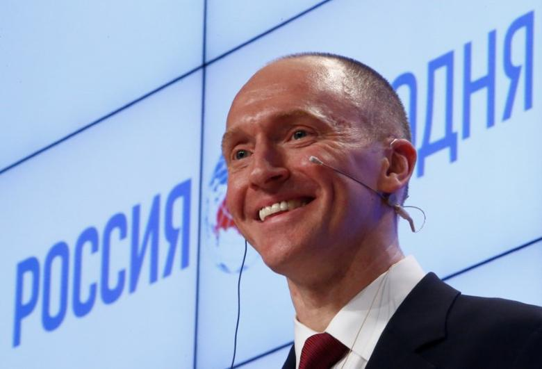 FILE PHOTO: One-time advisor of U.S. president-elect Donald Trump Carter Page addresses the audience during a presentation in Moscow, Russia, December 12, 2016. REUTERS/Sergei Karpukhin