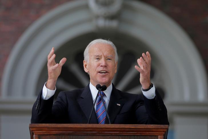 FILE PHOTO - Former U.S. Vice President Joe Biden speaks during Class Day Exercises at Harvard University in Cambridge, Massachusetts, U.S. on May 24, 2017, ahead of the the University's 366th Commencement Exercises.   REUTERS/Brian Snyder/File Photo