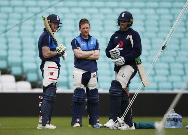 Britain Cricket - England Nets - The Oval - 31/5/17 England's Ben Stokes, Eoin Morgan and Jason Roy during nets Action Images via Reuters / Paul Childs Livepic
