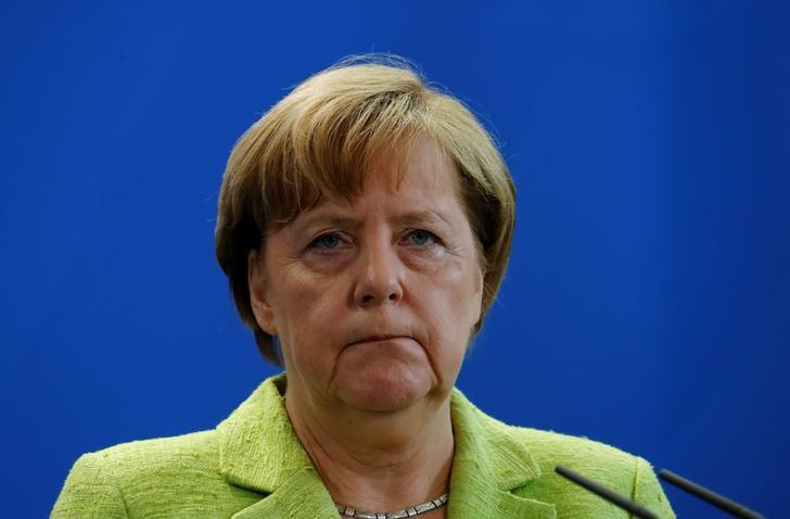 German Chancellor Angela Merkel during news conference at the Chancellery in Berlin, Germany, June 1, 2017.    REUTERS/Fabrizio Bensch