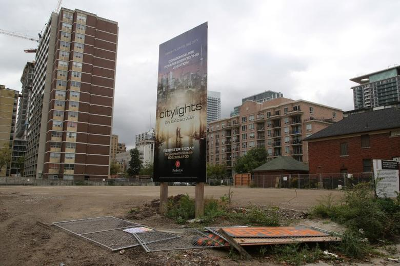 A sign advertises a condominium development on a lot in Toronto, Ontario, Canada October 3, 2016. REUTERS/Chris Helgren