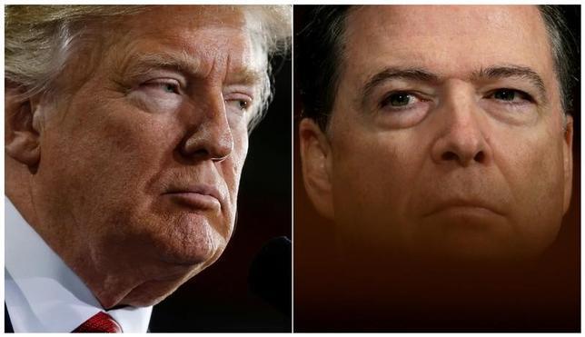 6月1日、トランプ米大統領(左)に解任されたコミー前FBI長官(右)は8日に上院情報委員会で証言を行う。同委員会が1日、明らかにした。トランプ氏の写真は3月15日、コミー氏は5月3日撮影(2017年 ロイター/Jonathan Ernst/Kevin Lamarque)