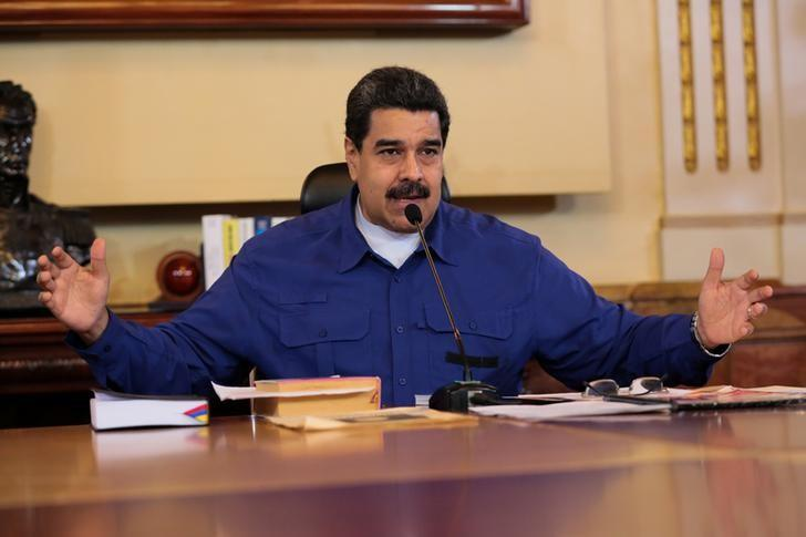 Venezuela's President Nicolas Maduro speaks during a meeting with Vice Presidents at Miraflores Palace in Caracas, Venezuela June 1, 2017. Miraflores Palace/Handout via REUTERS