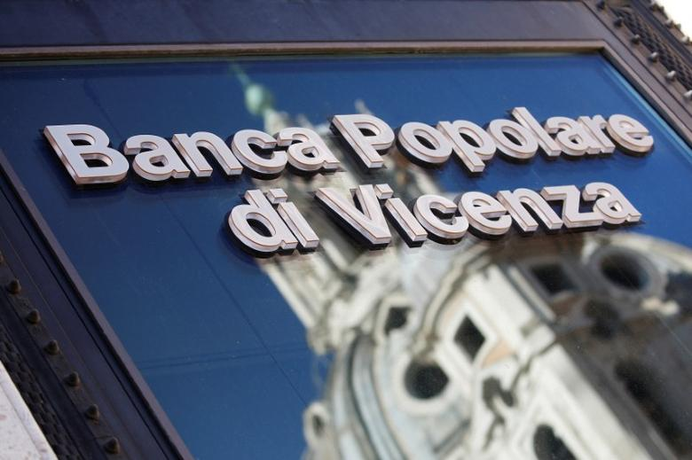 A Banca Popolare di Vicenza sign is seen in Rome, Italy, March 29, 2017. REUTERS/Alessandro Bianchi