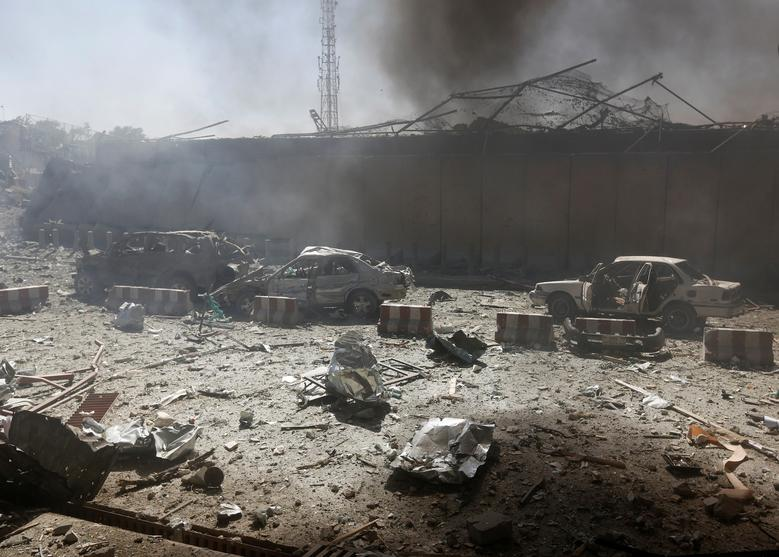 Damaged cars are seen after a blast in Kabul, Afghanistan.REUTERS/Omar Sobhani