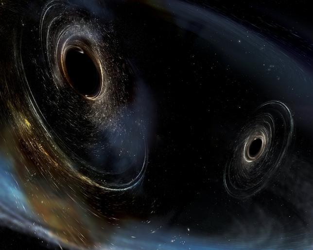 6月1日、米大学などの科学者チームが、「時空のさざ波」と呼ばれる重力波の観測に今年1月4日に成功したことが明らかになった。観測成功は3回目で、米ワシントン州とルイジアナ州に設置したLIGOと呼ばれる観測装置でとらえた。写真はLIGO提供のブラックホールのイラスト(2017年 ロイター/Courtesy of Caltech/MIT/LIGO Laboratory)