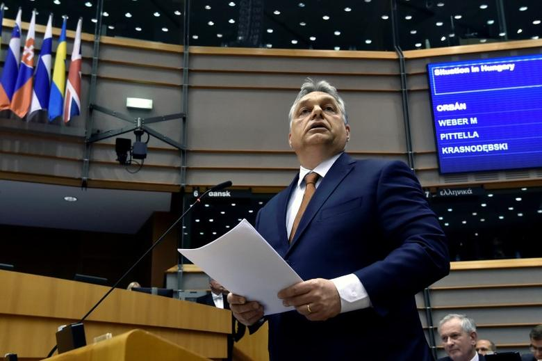 FILE PHOTO: Hungary's Prime Minister Viktor Orban speaks during a plenary session at the European Parliament (EP) in Brussels, Belgium April 26, 2017. REUTERS/Eric Vidal/File Photo