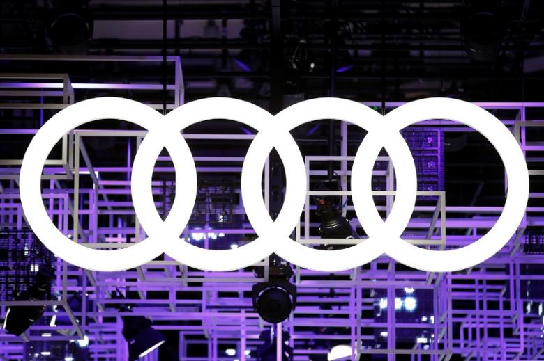 An Audi car logo is seen on media day at the Paris auto show, in Paris, France, September 29, 2016. REUTERS/Benoit Tessier