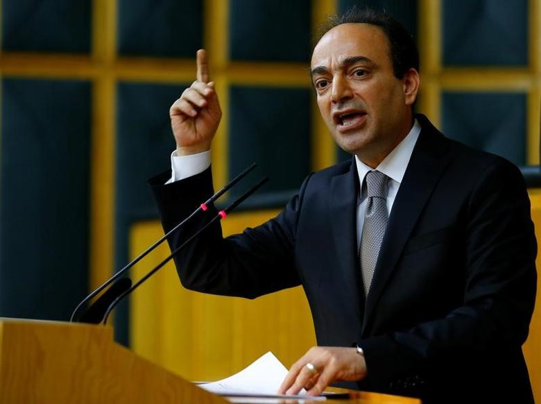 Osman Baydemir, spokesman for the Peoples' Democratic Party (HDP), addresses members of parliament from his party during a meeting at the Turkish parliament in Ankara, Turkey April 18, 2017. REUTERS/Umit Bektas/Files