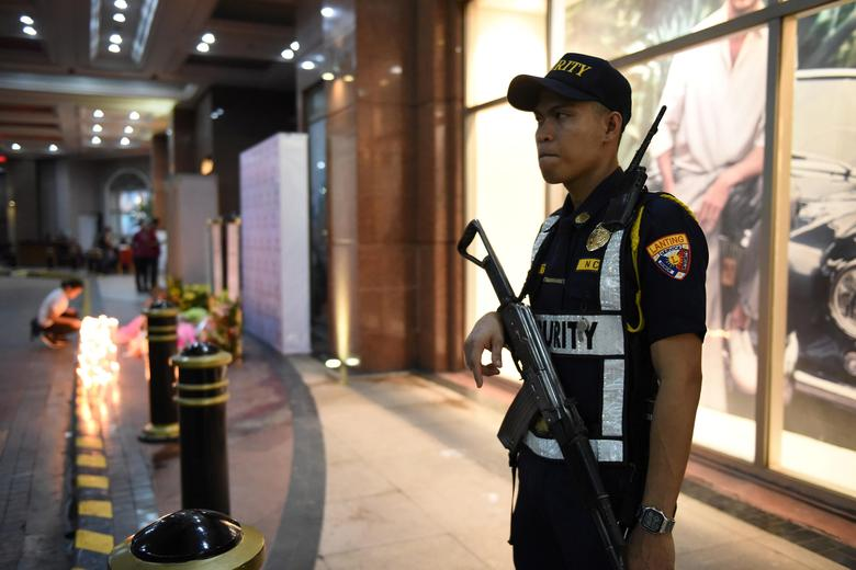 A security man stands guard outside Resorts World in Pasay City, Metro Manila Philippines June 2, 2017. REUTERS/Dondi Tawatao