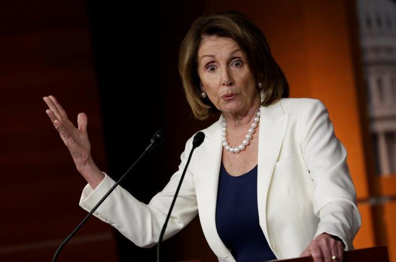 FILE PHOTO: U.S. House Minority Leader Nancy Pelosi (D-CA) speaks during a news conference on Capitol Hill in Washington, U.S, April 27, 2017. REUTERS/Yuri Gripas