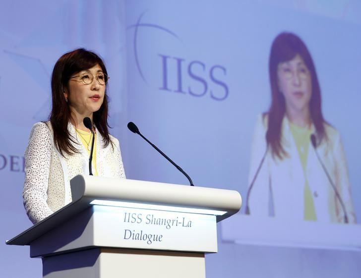 Japan's Defence Minister Tomomi Inada speaks at the 16th IISS Shangri-La Dialogue in Singapore June 3, 2017. REUTERS/Edgar Su
