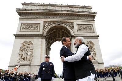 Modi greets Macron