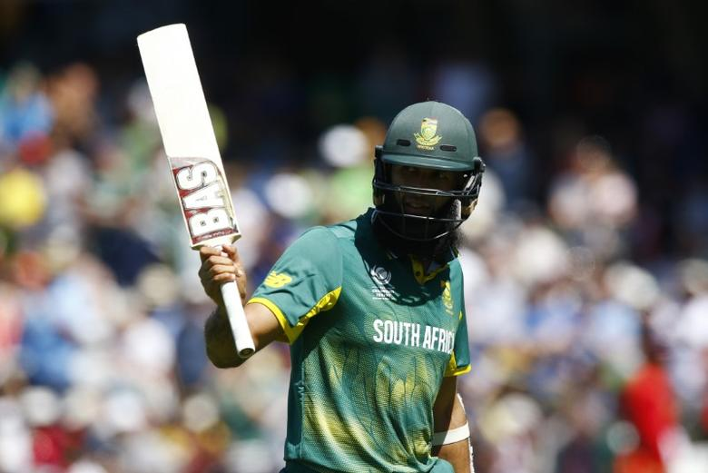 Britain Cricket - Sri Lanka v South Africa - 2017 ICC Champions Trophy Group B - The Oval - June 3, 2017 South Africa's Hashim Amla waves to the crowd after being dismissed Action Images via Reuters / Peter Cziborra Livepic