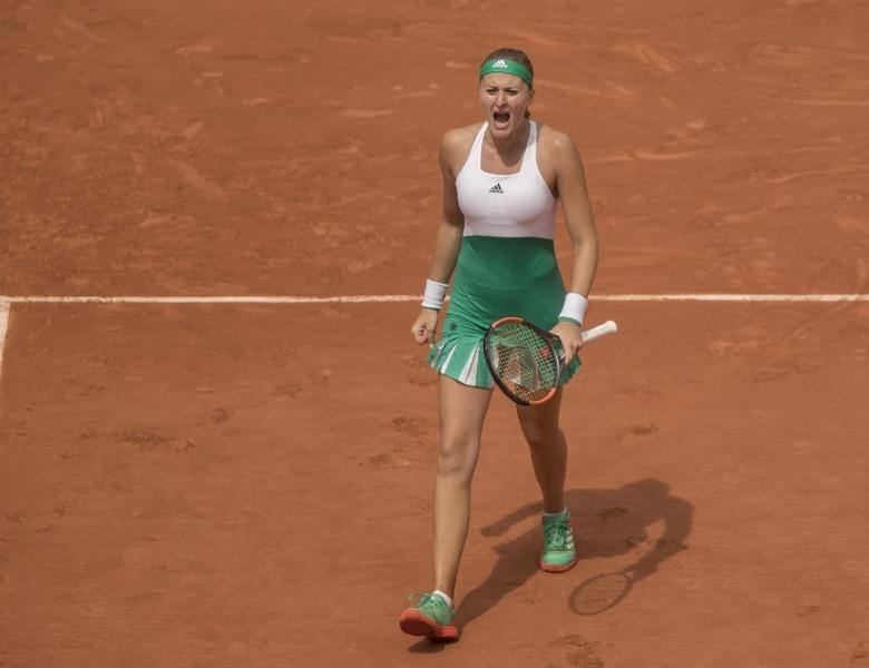 Jun 2, 2017; Paris, France; Kristina Mladenovic (FRA) reacts during her match against Shelby Rogers (USA) (not pictured) on day six of the 2017 French Open tennis tournament at Stade Roland Garros. Mandatory Credit: Susan Mullane-USA TODAY Sports