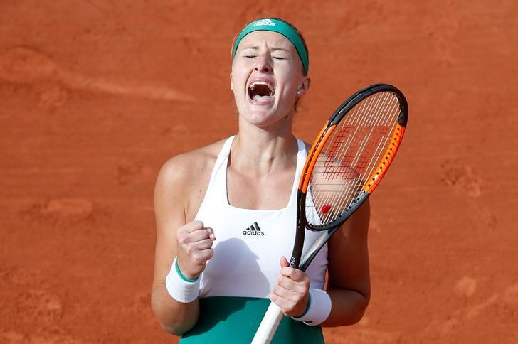 Tennis - French Open - Roland Garros, Paris, France - June 4, 2017   France's Kristina Mladenovic celebrates winning her fourth round match against Spain's Garbine Muguruza   Reuters / Christian Hartmann