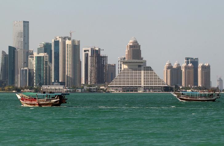 2017年6月5日,卡塔尔多哈,海滨高楼林立。REUTERS/Stringer
