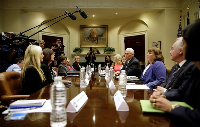 U.S. Vice President Mike Pence attends a healthcare listening session with Health and Human Services (HHS) Secretary Tom Price at the White House in Washington, DC, U.S. June 5, 2017. REUTERS/Joshua Roberts
