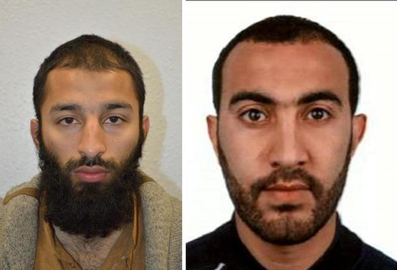 Two of the men shot dead by police following the attack on London Bridge and Borough Market on Saturday are seen in this undated combination image of two photographs, received in London via the Metropolitan Police in London on June 5, 2017.  On left is Khuram Shazad Butt and on right is Rachid Redouane. Metropolitan Police, Handout via REUTERS