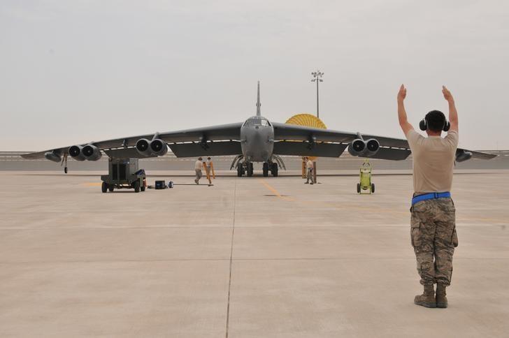 FILE PHOTO: A U.S. Air Force B-52 Stratofortress bomber arrives at Al Udeid Air Base, Qatar April 9, 2016. .  REUTERS/U.S. Air Force/Tech. Sgt. Terrica Y. Jones/Handout via Reuters/File Photo