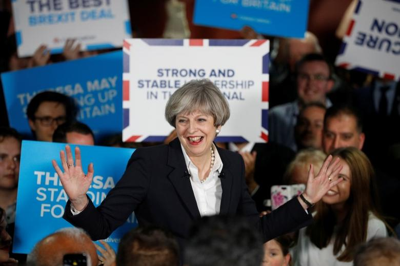 Britain's Prime Minister Theresa May reacts during an election campaign event in Bradford, Britain, June 5, 2017. REUTERS/Phil Noble