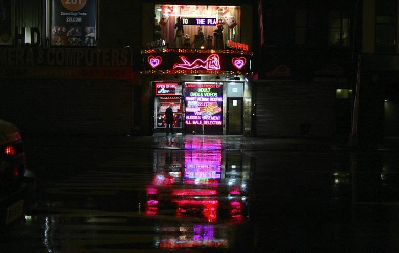 A sex shop is seen open near Times Square in New York October 29, 2012. REUTERS/Carlo Allegri