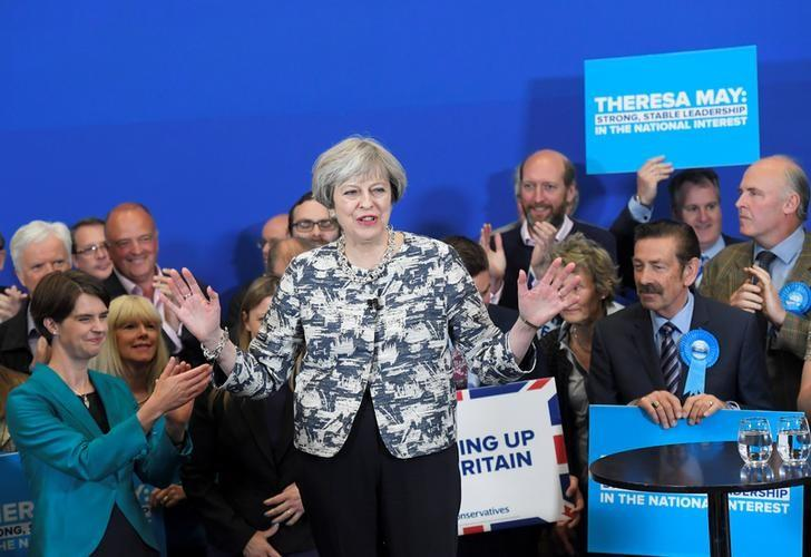 Britain's Prime Minister Theresa May gives an election campaign speech to Conservative Party supporters in Norwich, June 7, 2017. REUTERS/Toby Melville