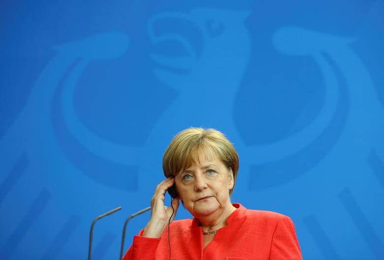German Chancellor Angela Merkel attends a news conference at the chancellery in Berlin, Germany, June 7, 2017. REUTERS/Hannibal Hanschke
