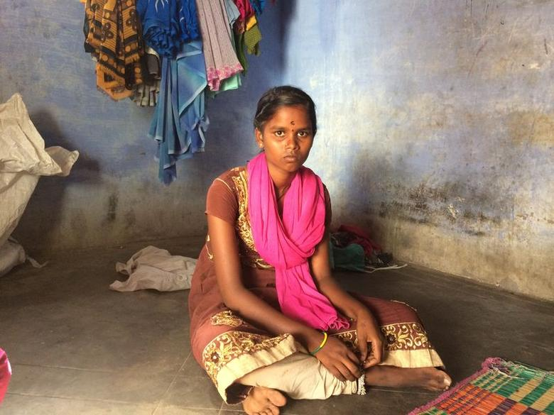 Spinning mill worker Anandi Murugesan rests at her home in Manjanaickenpatti village in Dindigul district of Tamil Nadu, May 30, 2017. Thomson Reuters Foundation/Anuradha Nagaraj