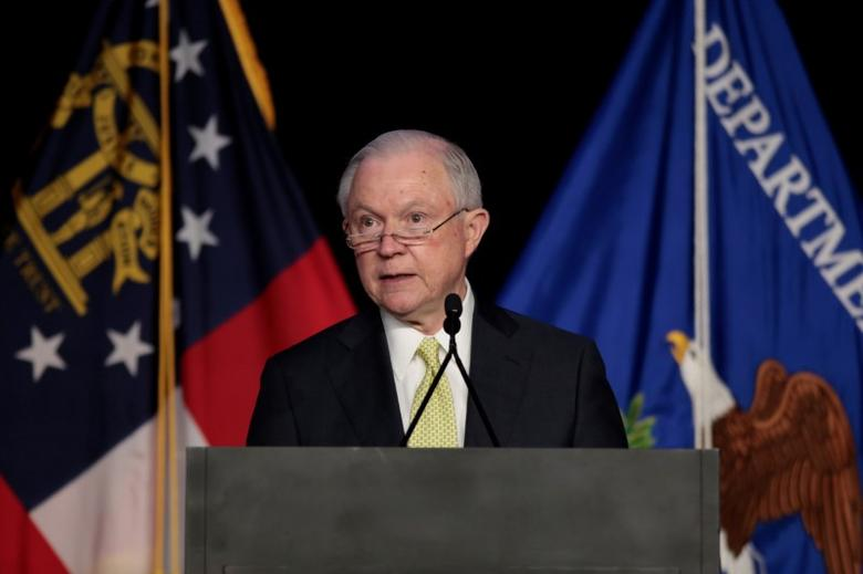 U.S. Attorney General Jeff Sessions addresses the National Law Enforcement Conference on Human Exploitation in Atlanta, Georgia, U.S., June 6, 2017.  REUTERS/Chris Aluka Berry