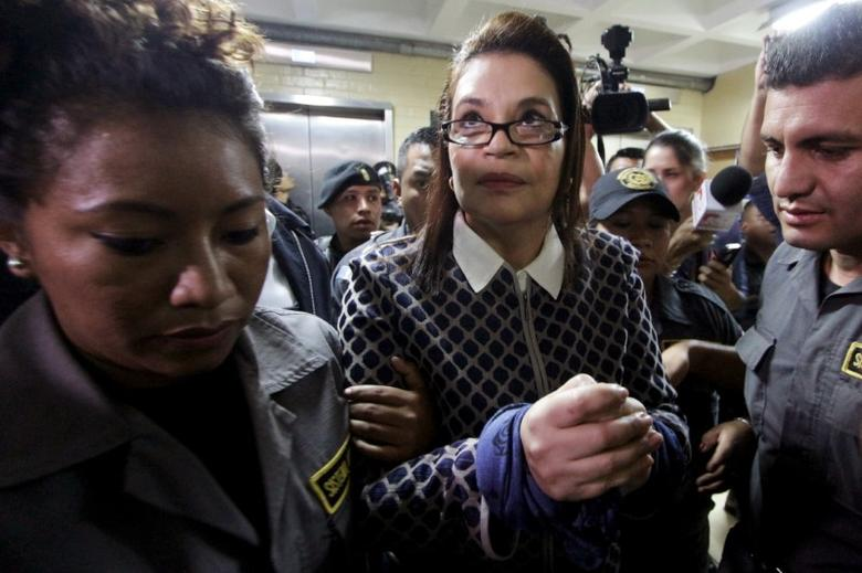 FILE PHOTO - Guatemala's former Vice President Roxana Baldetti arrives to a hearing at the Supreme Court of Justice in Guatemala City, Guatemala, March 28, 2016, on charges of conspiracy, customs fraud and bribery charges. REUTERS/Josue Decavele/File Photo