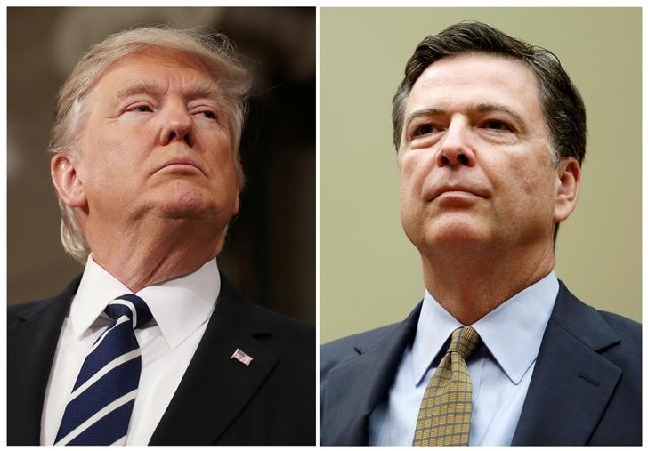 A combination photo shows U.S. President Donald Trump (L) in the House of Representatives in Washington, U.S., on February 28, 2017 and FBI Director James Comey in Washington U.S. on July 7, 2016. REUTERS/Jim Lo Scalzo/Pool, Gary Cameron/Files