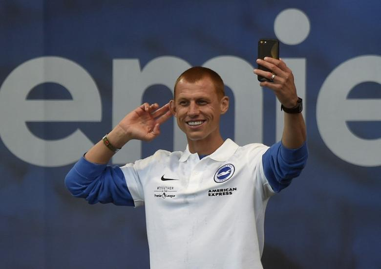 Britain Soccer Football - Brighton & Hove Albion Premier League Promotion Parade - Brighton - 14/5/17 Brighton's Steve Sidwell during the parade Action Images via Reuters / Alan Walter Livepic