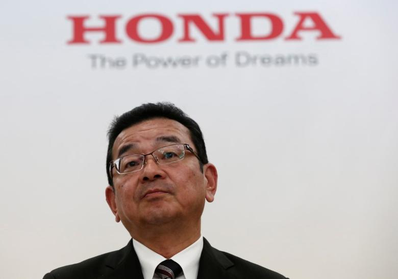 FILE PHOTO: Honda Chief Executive Officer Takahiro Hachigo attends a news conference in Tokyo, Japan, February 7, 2017.  REUTERS/Kim Kyung-Hoon
